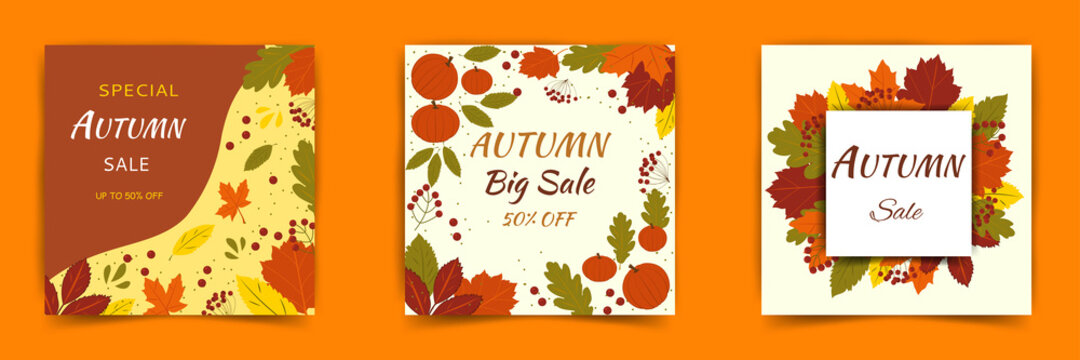 Set of vector web banner templates for autumn sale. Can be used for mobile website banners, web designs, posters, emails and newsletters. Trendy textures, flat style.