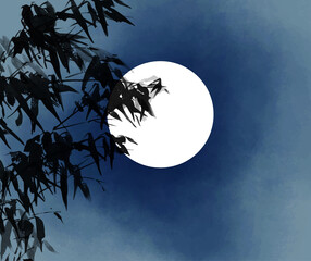 Ink wash painting of bamboo and the moon. Traditional oriental ink painting sumi-e, u-sin, go-hua.