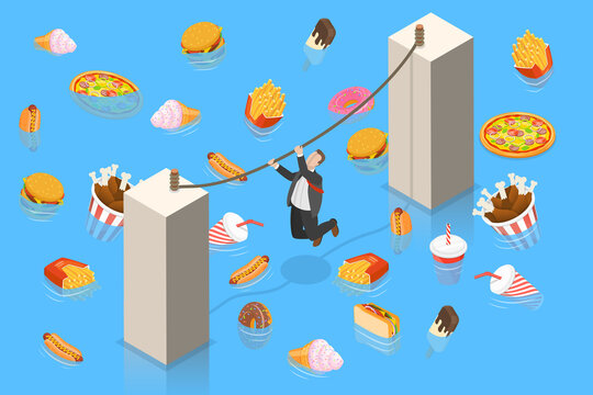 Unhealthy Nutrition Eating Risks, Fast Food Harmful Effects, Junk Food Danger. 3D Isometric Flat Vector Conceptual Illustration.