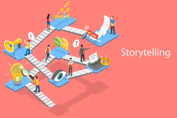 Storytelling Guide, Creative Content Writing and Blogging, Digital Marketing. 3D Isometric Flat Vector Conceptual Illustration.
