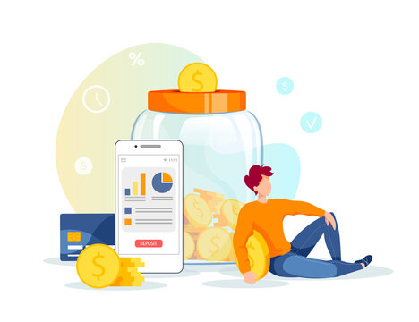 Large piggy bank in the form of a jar with coins inside, phone and young man. Money saving or accumulating, Financial services, Mobile app, Internet banking concept. Isolated vector illustration.