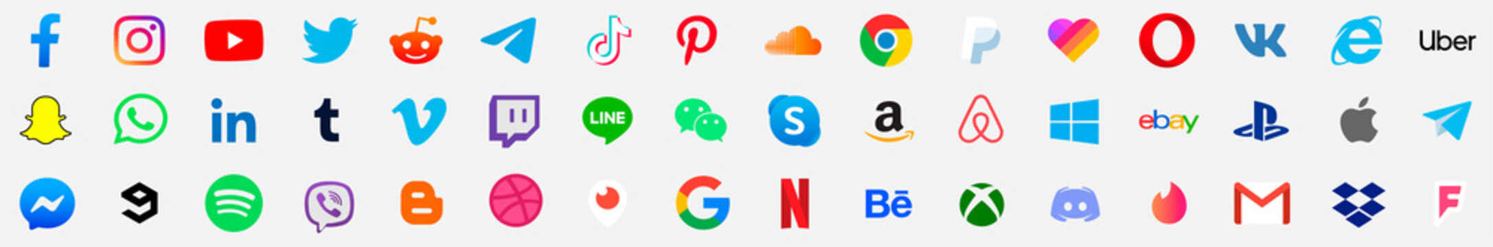 Facebook, twitter, instagram, youtube, reddit,telegram,snapchat, pinterest, tiktok ,uber, gmail, internet explorer, playstation, xbox, messenger logo. social media logo. social media set background