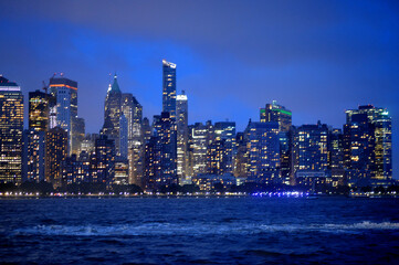 New York city skyline at night. USA