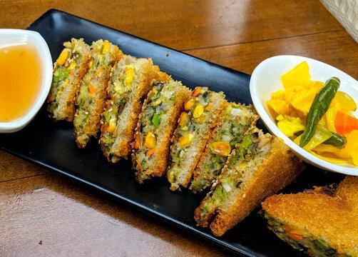 The Cheesy Corn Veg Sandwich. High quality photo