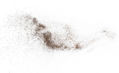 Dirt dust isolated on white background and texture, with clipping path
