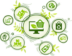 ecological product and packaging vector illustration. Green concept with icons related to environmentally friendly organic shopping or ecommerce, sustainable procurement or purchasing, zero waste.