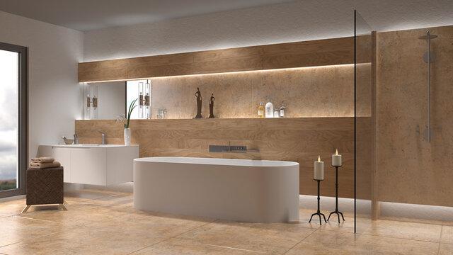 Luxuriöses modernes Badezimmer mit freistehender Badewanne