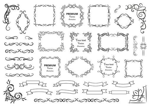 Calligraphic design elements . Decorative swirls or scrolls, vintage frames , flourishes, labels and dividers. Retro vector illustration..