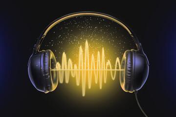 Black music headphones and sound waves