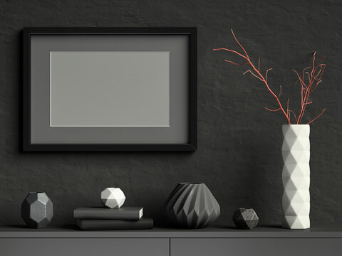 Black mock up poster frame on dark plaster wall with white ceramic vase with branches, books and geometric pots; landscape orientation; stylish frame mock up background; 3d rendering, 3d illustration