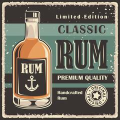 Rum Retro Vintage Classic Signage Poster