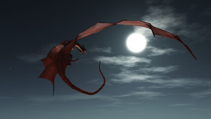 Fantasy illustration of a red dragon flying in the night sky in the moonlight, 3d digitally rendered illustration