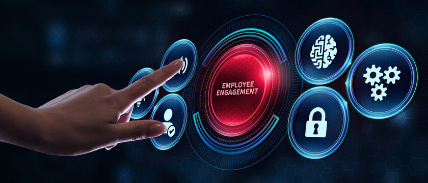Business, Technology, Internet and network concept. Young businessman working on a virtual screen of the future and sees the inscription: Employee engagement