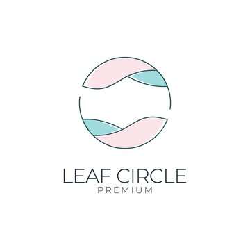 leaf circle feminine logo design