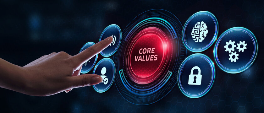 Business, Technology, Internet and network concept. Core values responsibility ethics goals company concept.