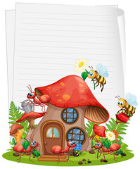 Blank paper with mushroom house and animal garden set isolated