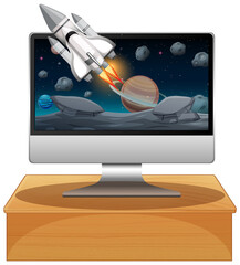 Computer with space scene