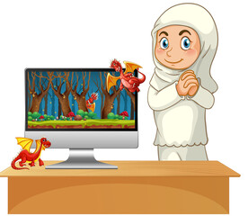 Fairy tale on computer desktop screen