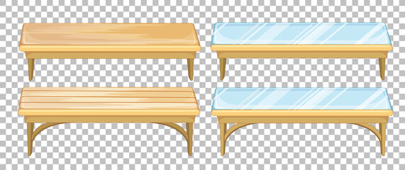 Set of bench on transparent background