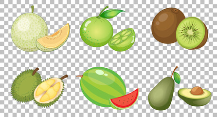 Set of different fruits isolated