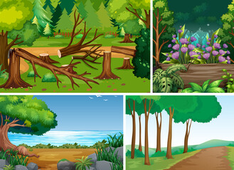Four different scene of forest cartoon style