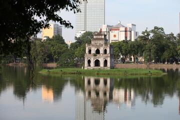 The Turtle Tower (Thap Rua) on Hoan Kiem Lake (Sword Lake) Hanoi, Vietnam Wall mural