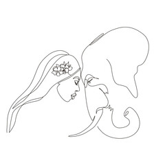 Continuous line art or One Line Drawing. African woman and elephant vector illustration, нuman and animal friendship concept. Animals of Africa