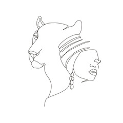 Continuous line art or One Line Drawing. African woman and leopard vector illustration, нuman and animal friendship concept. Animals of Africa