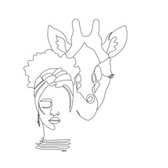 Continuous line art or One Line Drawing. African woman and giraffe vector illustration, нuman and animal friendship concept. Animals of Africa