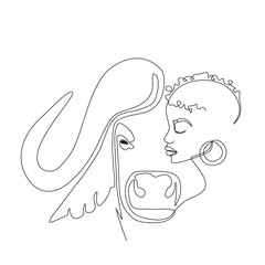 Continuous line art or One Line Drawing. African woman and buffalo vector illustration, нuman and animal friendship concept. Animals of Africa