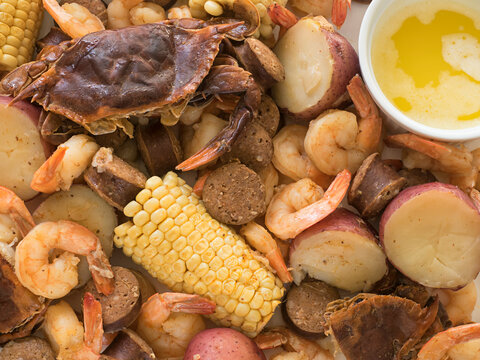 Crab Boil  Overhead with Butter