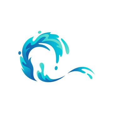 playful sea splash logo design