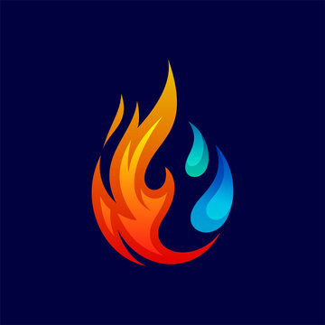 water drop and fire for refrigeration logo design