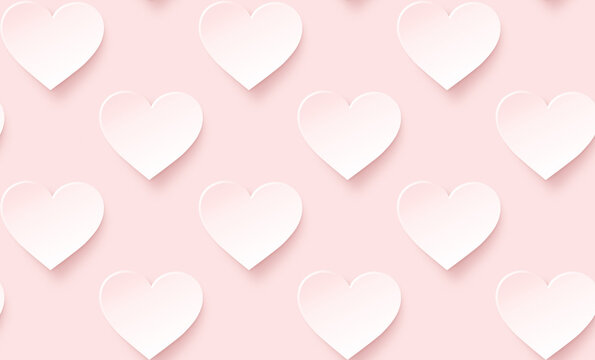 Many white hearts with pink hue on pink background. Symbol of love and Valentine's Day. Modern and trendy conceptual abstract background, seamless pattern.