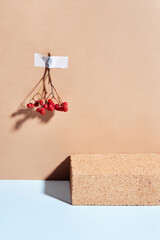 Minimal composition of brick podium and rowan berries. Template, mockup, podium for products and accessories. Front view