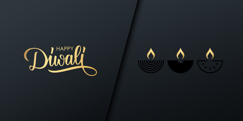 Diwali celebrate banner with golden handwritten inscription Happy Diwali. India festival of lights holiday invitation with hand drawn lettering and diya lamps. Vector illustration.