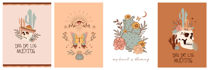 "Set of cards with Mystical and Mexico elements. Mexican holiday ""Day of the Dead"" or ""Dia de los muertos"". Skull, cactus, floral and mystic elements. Editable vector illustration"