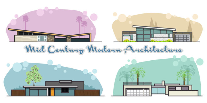 Mid Century Modern Houses Architecture Style from the 1950s, Atomic Age Buildings