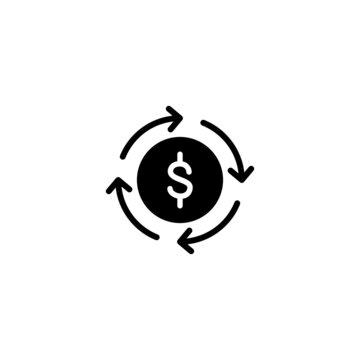 Money flow Icon in black flat glyph, filled style isolated on white background