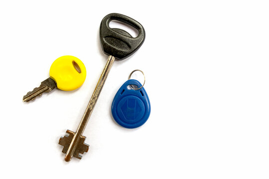 different door keys isolated on white background