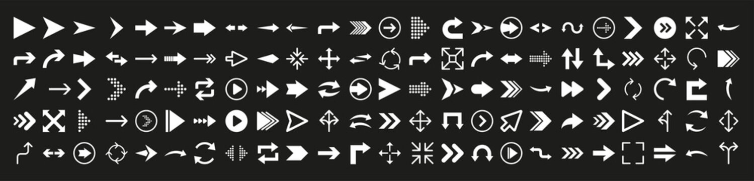 Arrows icon set in flat style on black background. Thin line. Web design. Vector illustration.