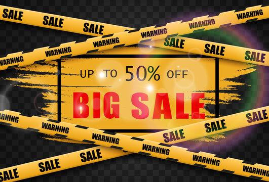 Vector illustration of clearance sale banner on transparent background.