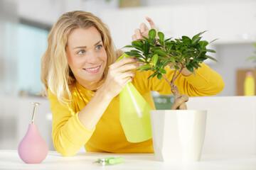 a woman spraying a bonsai