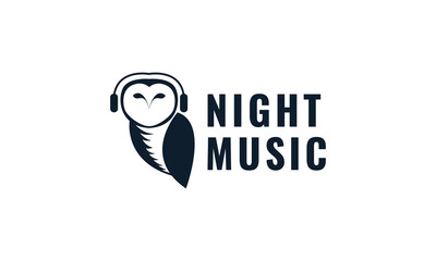 animal bird owl with headphone silhouette logo design