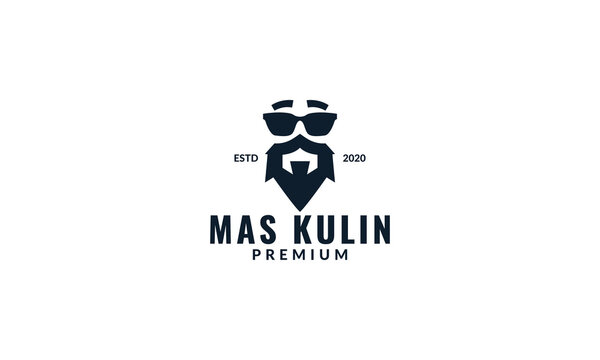 masculine beard with sunglasses logo design vintage or retro