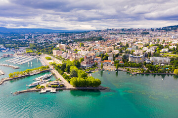 Picturesque aerial view from lake Geneva of Swiss town of Lausanne