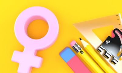 Male gender with school tools