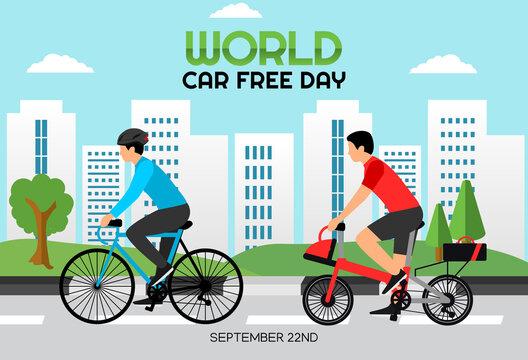 Vector graphic of world car free day good for world car free day celebration. flat design. flyer design.flat illustration.
