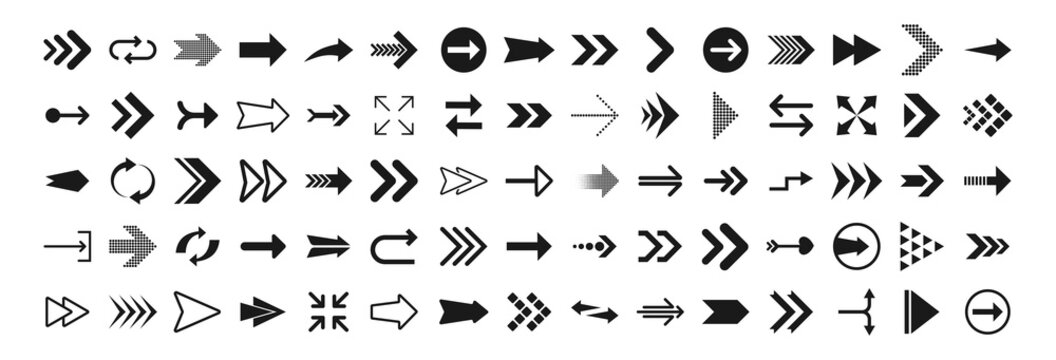 Arrows big black set icons. Arrow icon. Arrows for web design, mobile apps, interface and more. Vector stock illustration.
