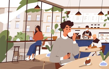 Scene of social distancing at cafeteria. People relax at city cafe. Characters eat dessert and drink coffee or tea at coffeeshop. Flat vector cartoon illustration of modern cozy coffeehouse interior